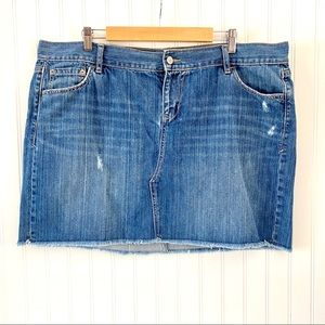 Old Navy Blue Frayed Hem Denim Mini Skirt Size 18